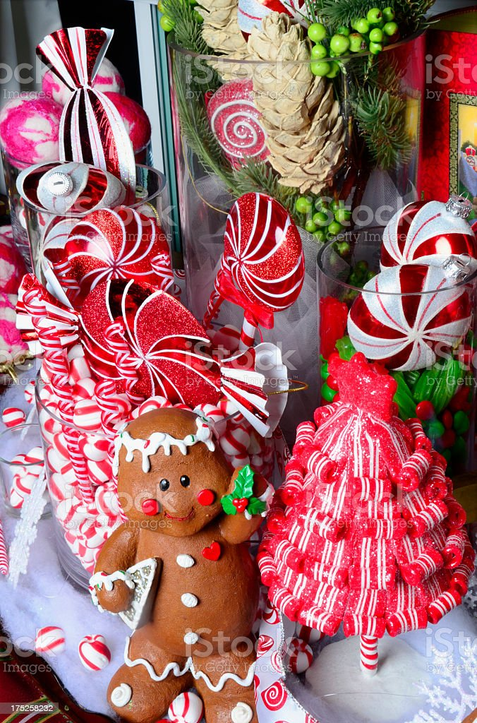 display of candy christmas decorations royalty-free stock photo