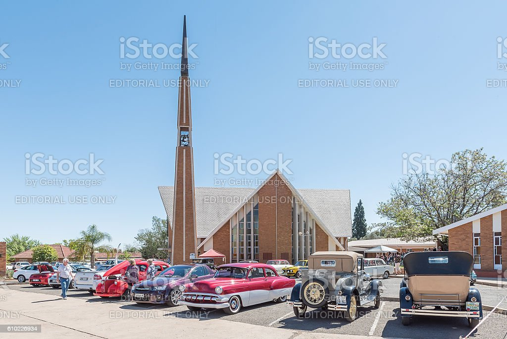 Display of cars at the Dutch Reformed Church, Vooruitsig stock photo
