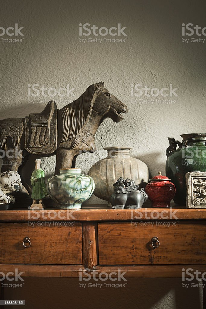 Display of Chinese Antique Decorative Objects and Potteries Vt royalty-free stock photo