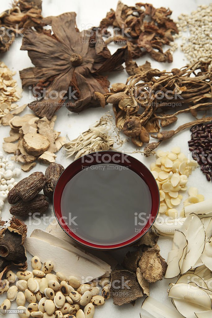 Display of Chinese Herbal Medicine Ingredients and the Tonic Hz royalty-free stock photo