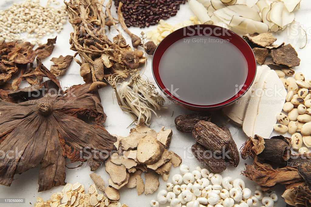 Display of Chinese Herbal Medicine Ingredients and the Tonic Hz stock photo