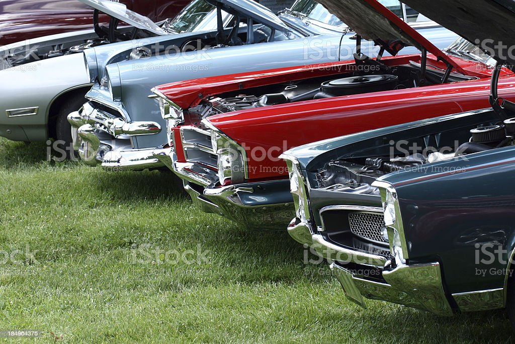 Display of classic automobiles at Indiana car show.  Colorful.  Summer. stock photo