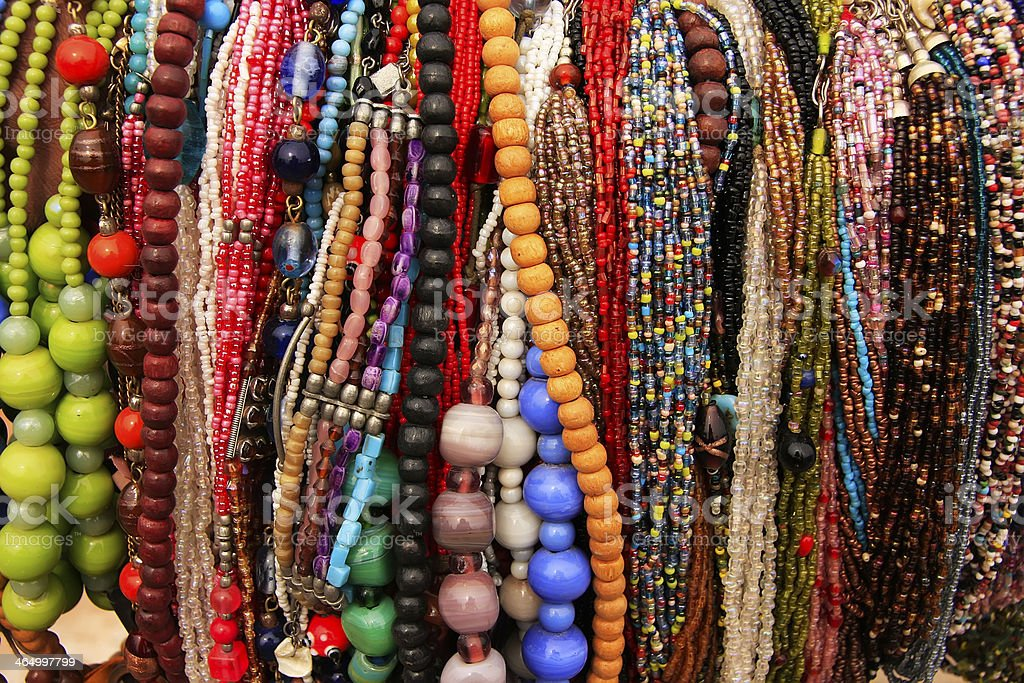 Display of colorful beads necklaces, New Delhi stock photo