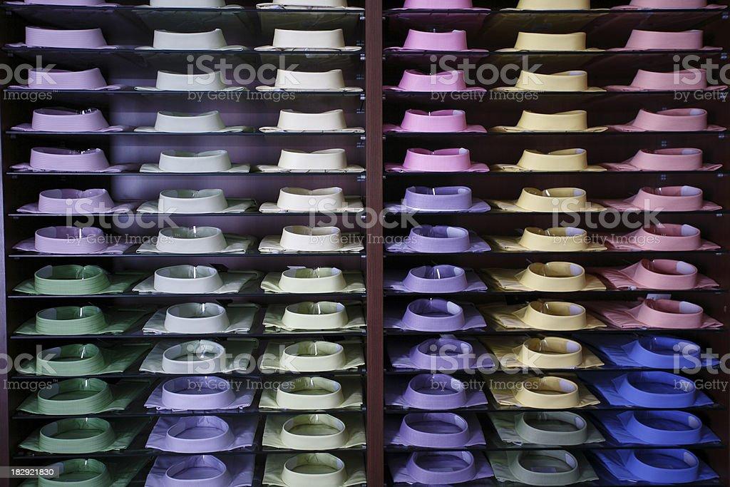 Display of colorfull shirts stock photo