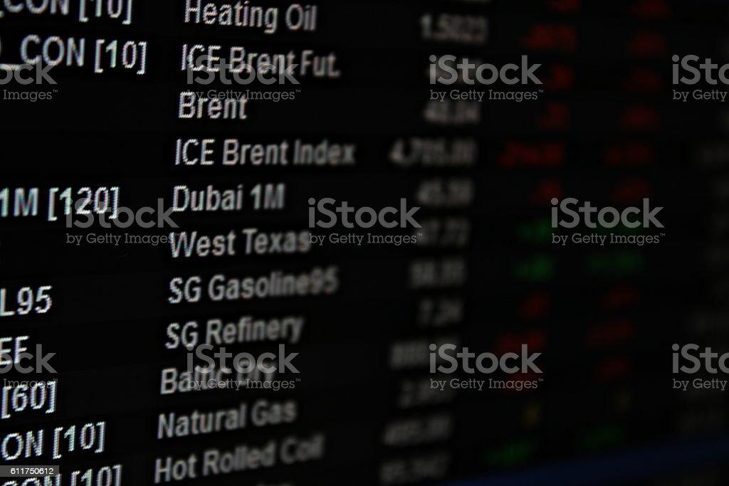 Display of energy future or oil future market data on monitor stock photo
