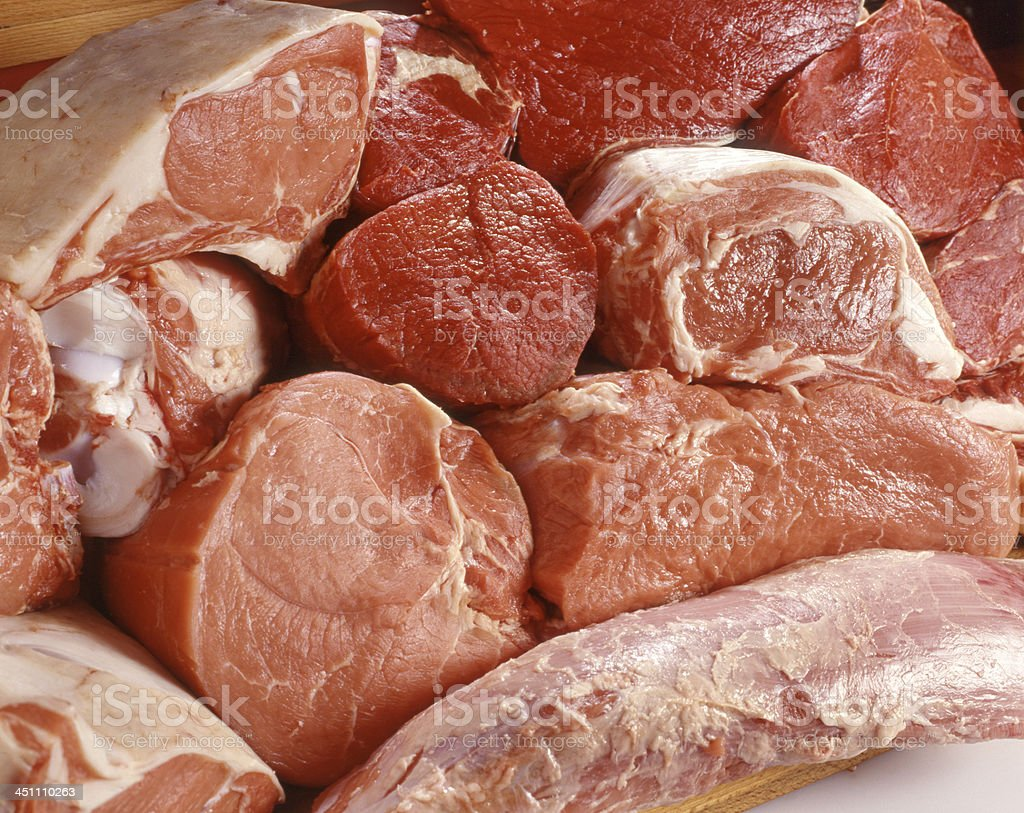 Display of fresh meat stock photo