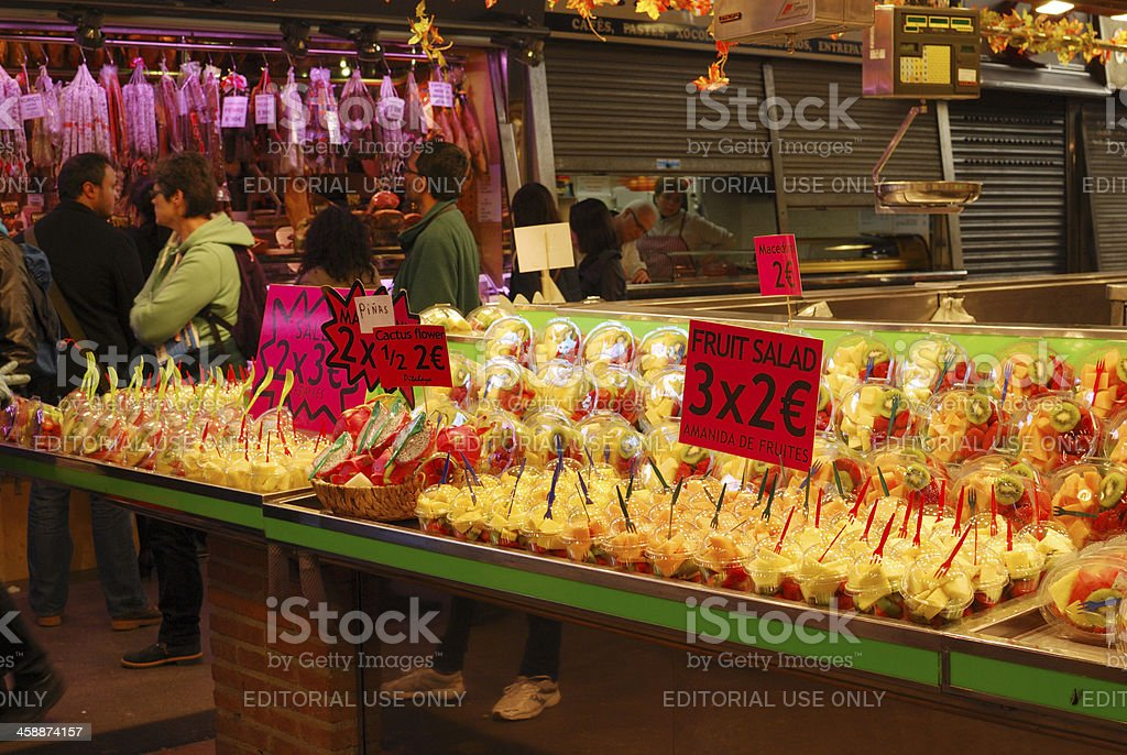 Display of fruit on market stall. Barcelona. Spain royalty-free stock photo