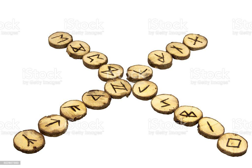 Display of Handmade Runes in  Cross Shape stock photo