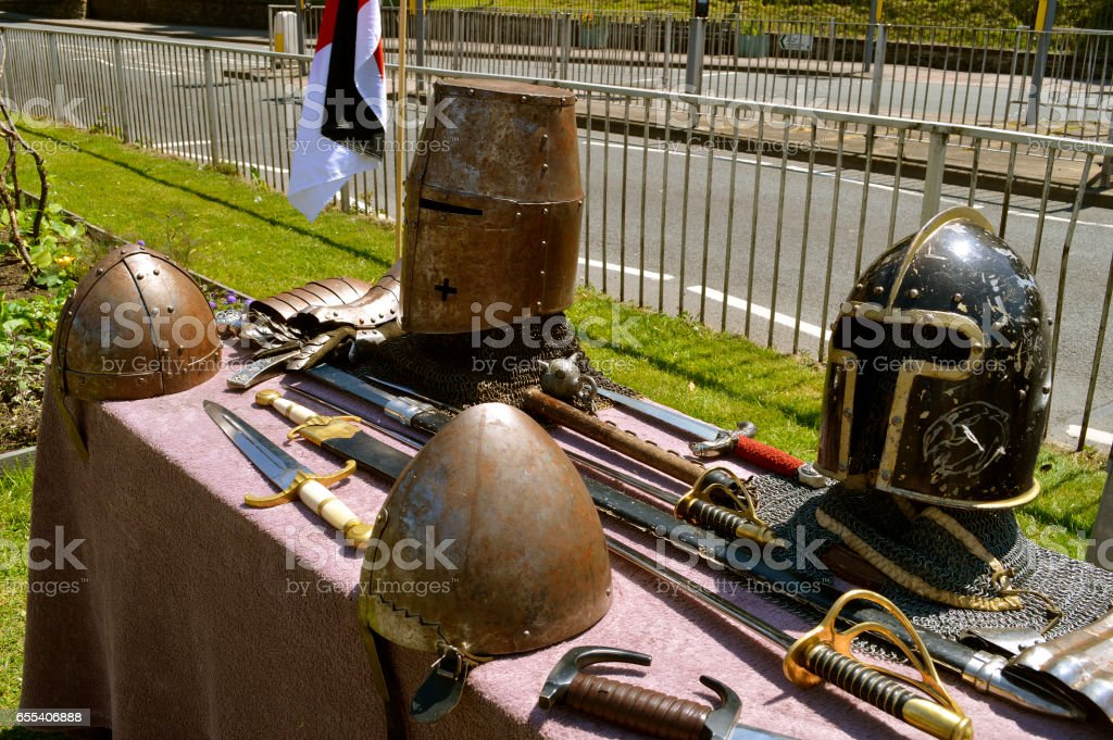 Display of knights armour and armaments stock photo