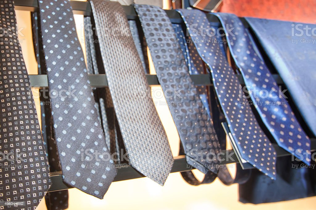 Display of neckties in a row. stock photo