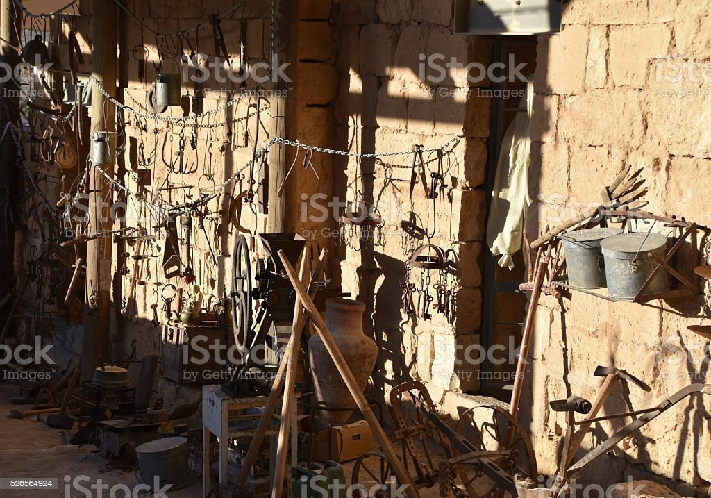 Display of old tools stock photo