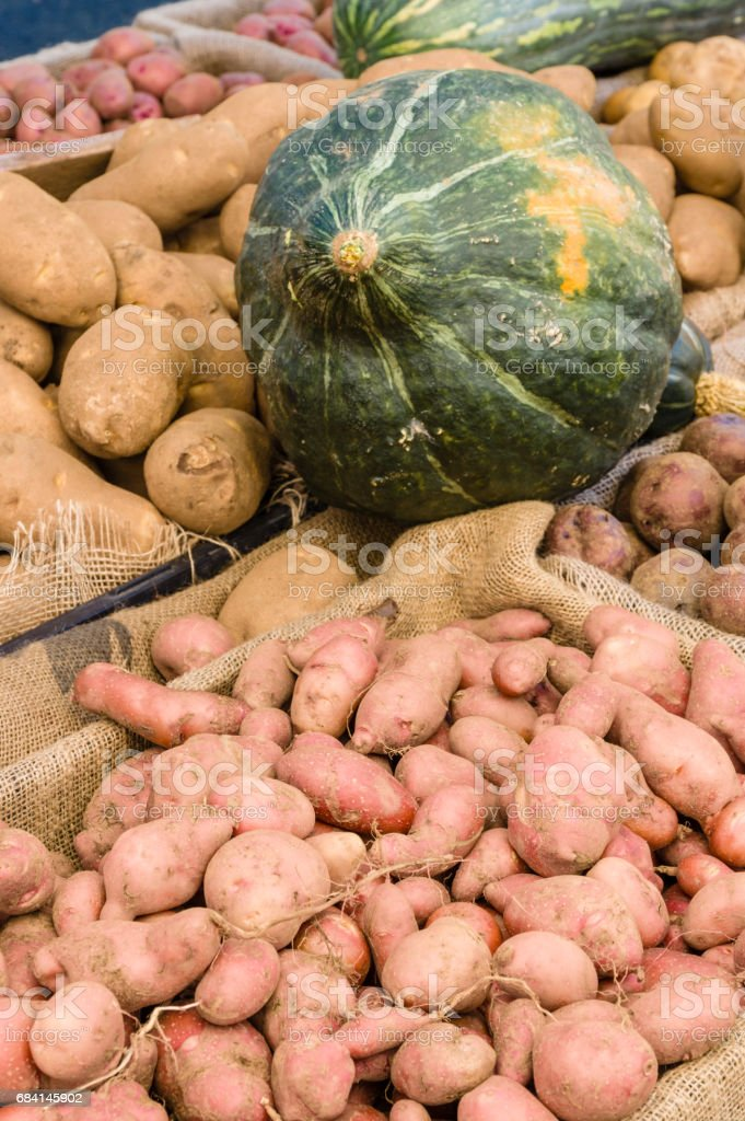 Display of potatoes at the market stock photo