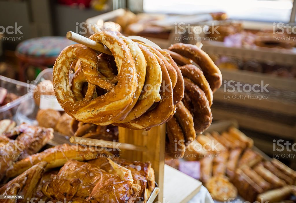 display of pretzels stock photo