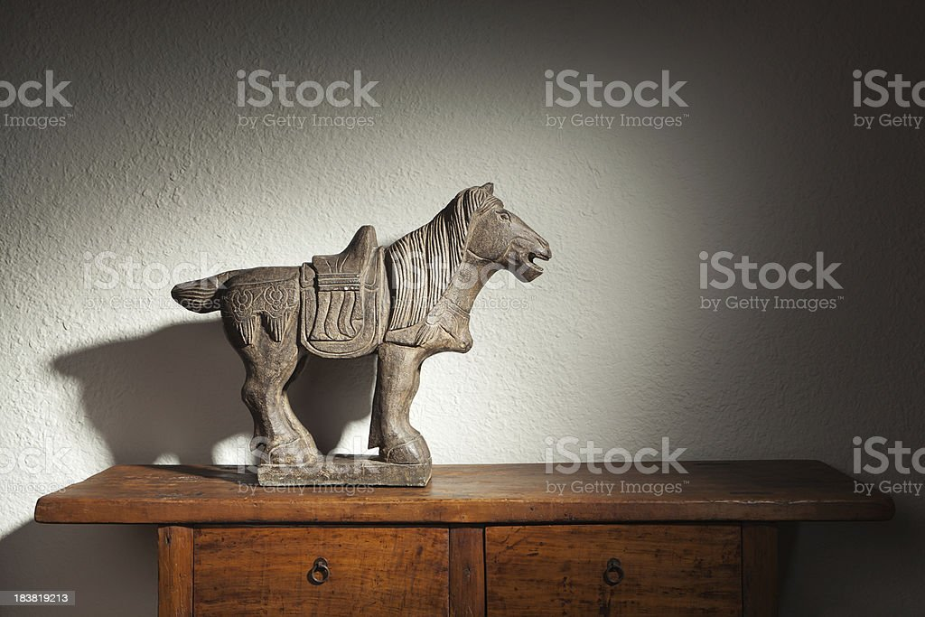 Display of Qing Dynasty Chinese Antique Stone Horse Hz stock photo