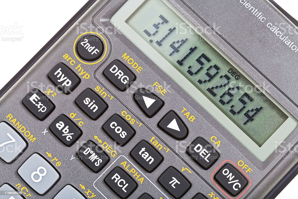 display of scientific calculator with mathematical functions royalty-free stock photo
