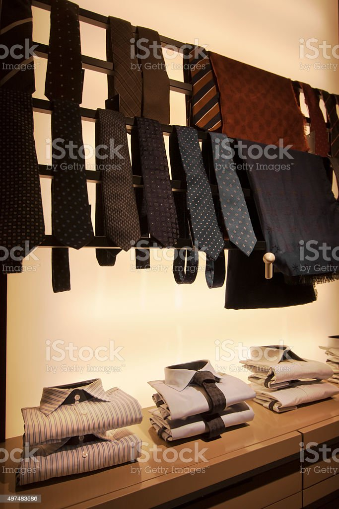 Display of shirts and neckties. stock photo