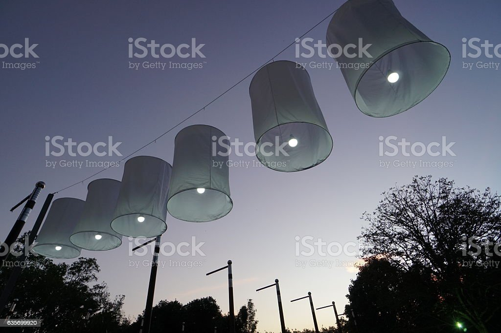 Display of Sky lantern(khom loi) in Chaing Mai, Thailand stock photo