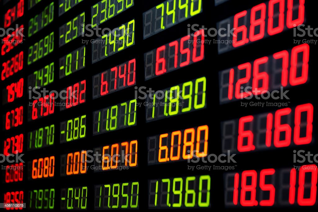 A display of stock market figures stock photo