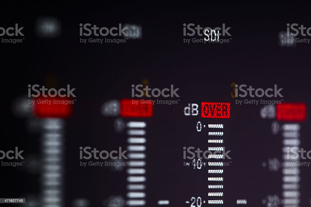 Display of the professional video recorder with warning Over signal. stock photo
