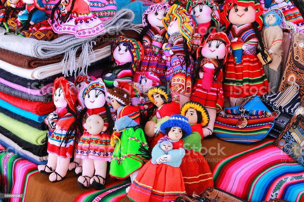 Display of traditional souvenirs at the market in Maca village, stock photo