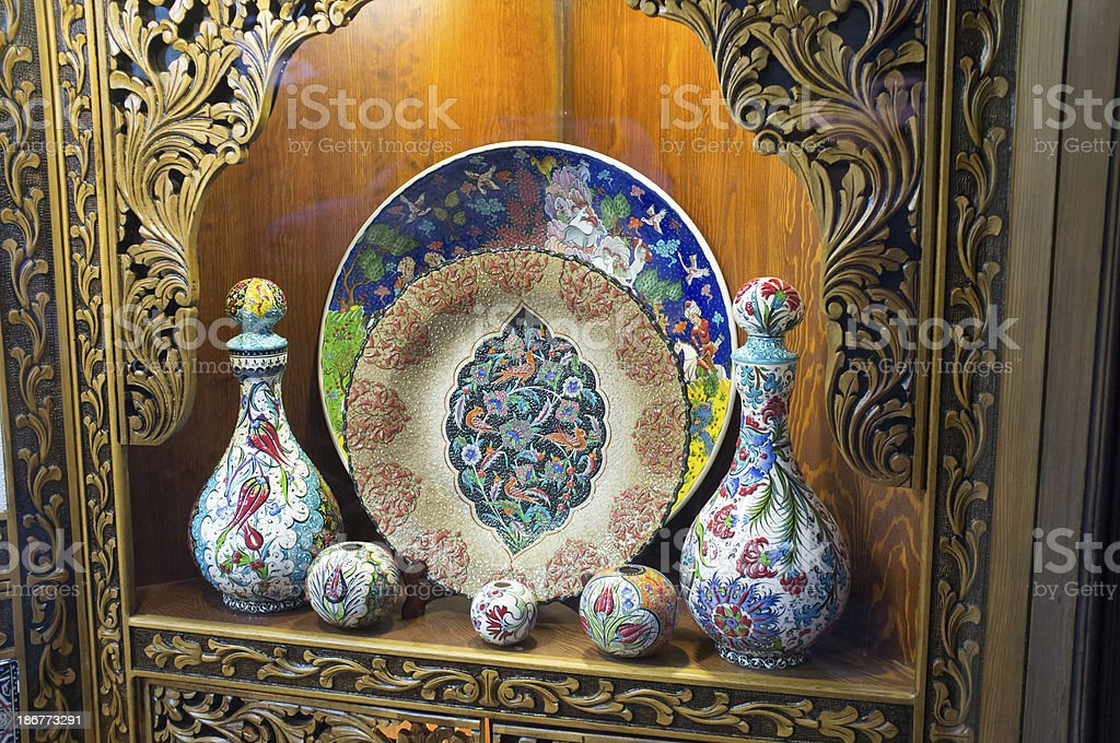 Display of traditional Turkish pottery dating from 16th century stock photo