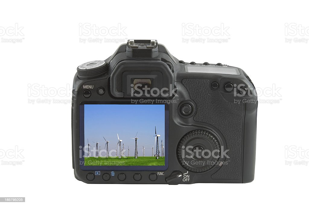 Display on camera isolated over white background royalty-free stock photo
