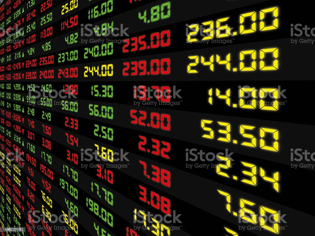 Display Panel of Daily Stock Market stock photo