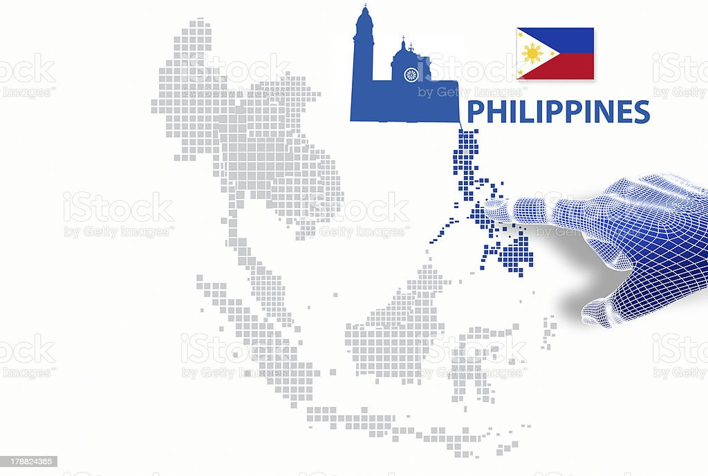 display Philippine map and flag. royalty-free stock photo