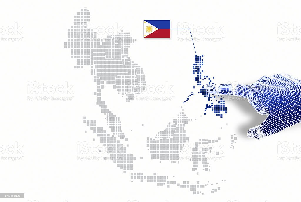 display Philippine map and flag. stock photo