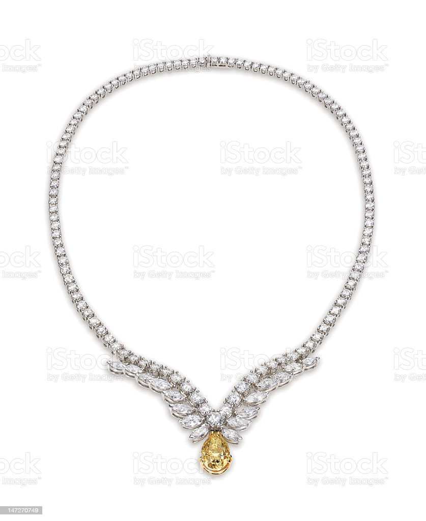 Display photo of diamond necklace with gold pendant stock photo