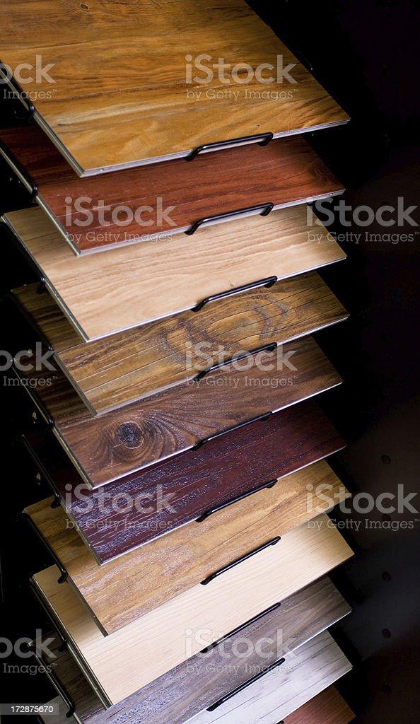 Display Rack of Flooring Laminates royalty-free stock photo