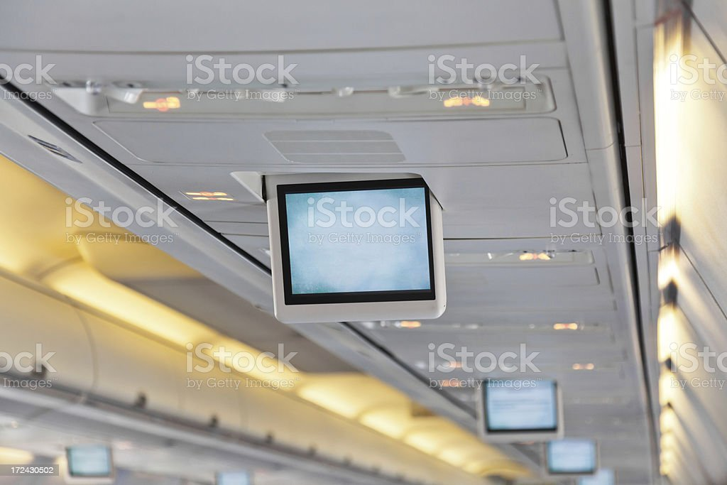 Display screen in the airplane royalty-free stock photo