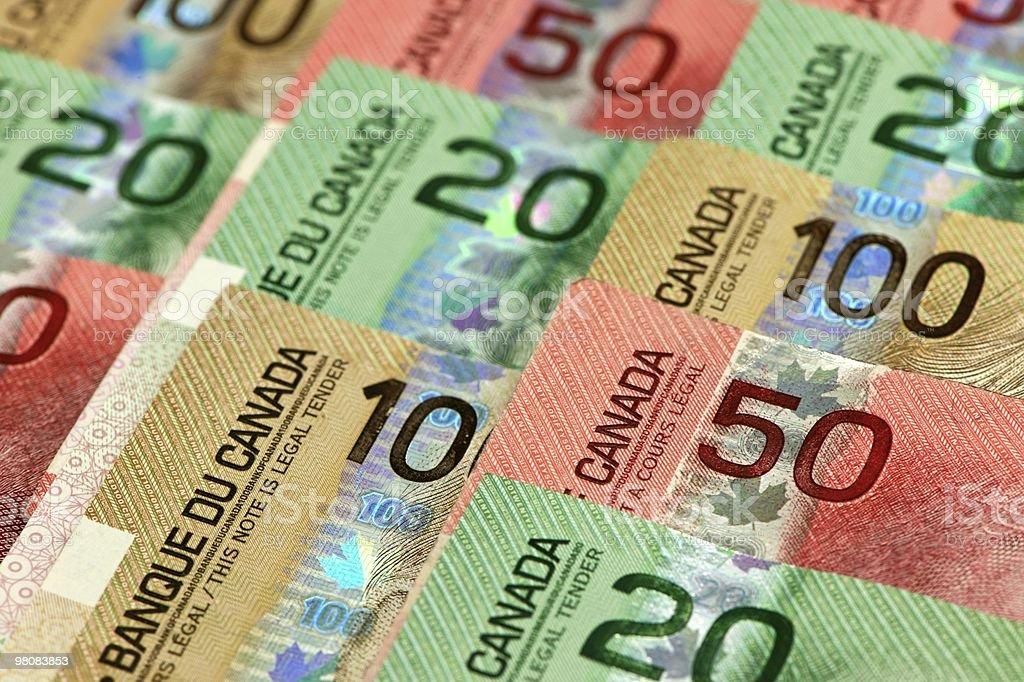 Display set of Canadian dollars stock photo