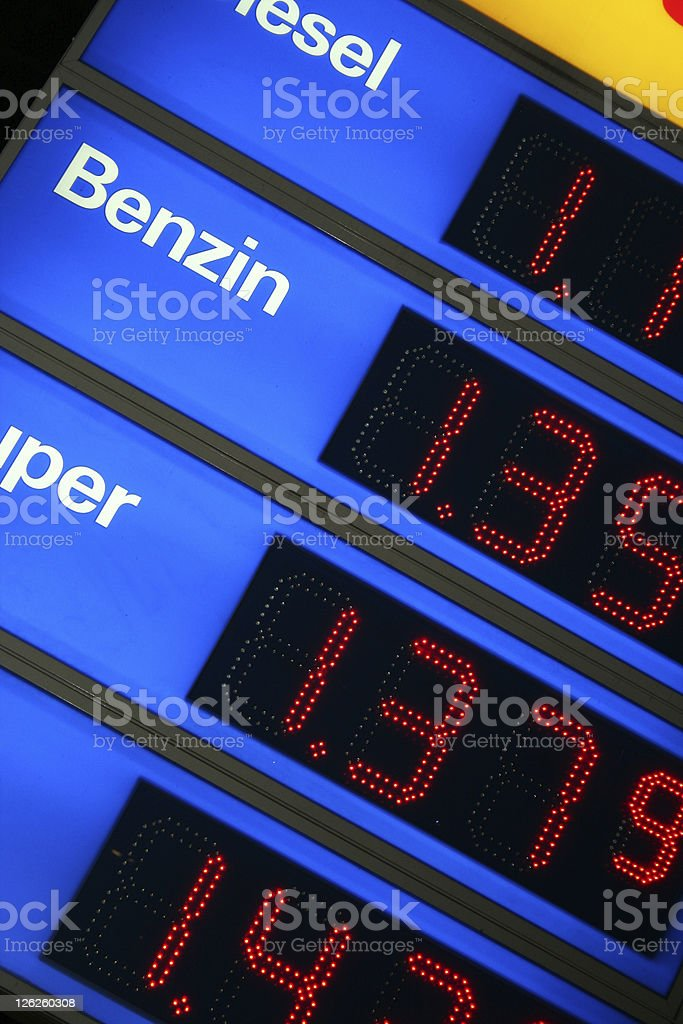 LCD Display showing rising Fuel Prices royalty-free stock photo