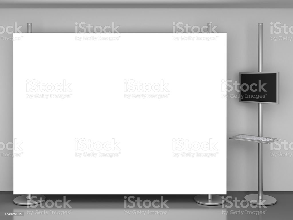 display stand with multimedia post stock photo