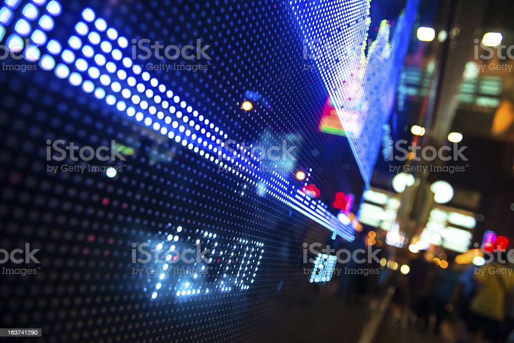 display stock information on LED screen royalty-free stock photo
