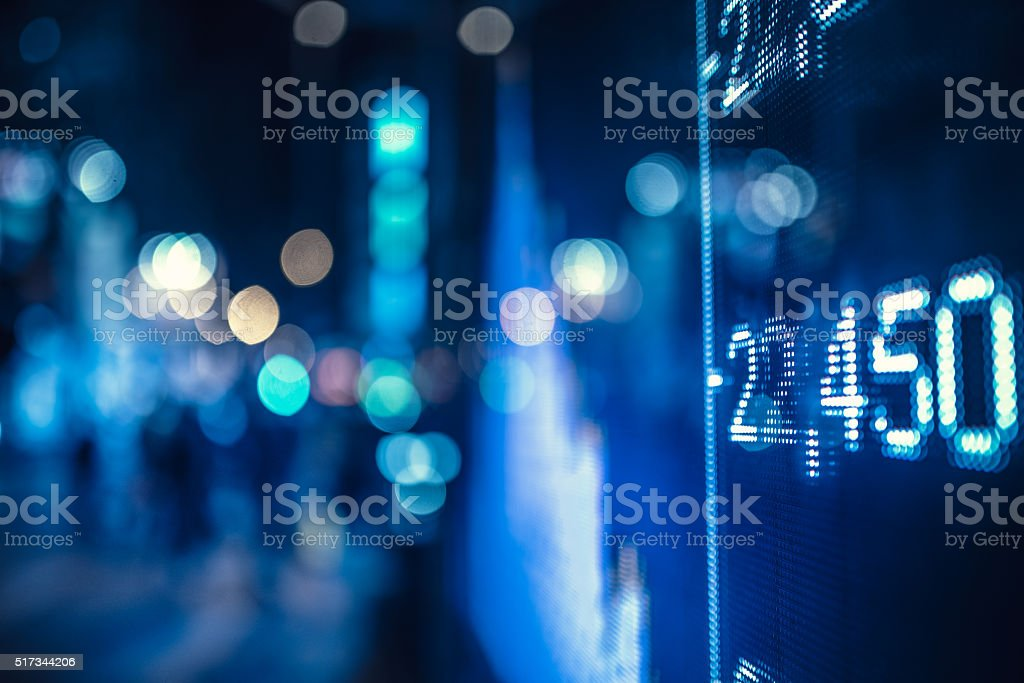 display stock market numbers on the street stock photo