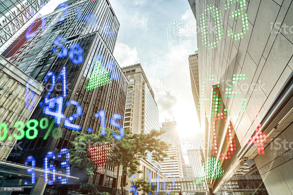 Display stock market numbers and hongkong background stock photo
