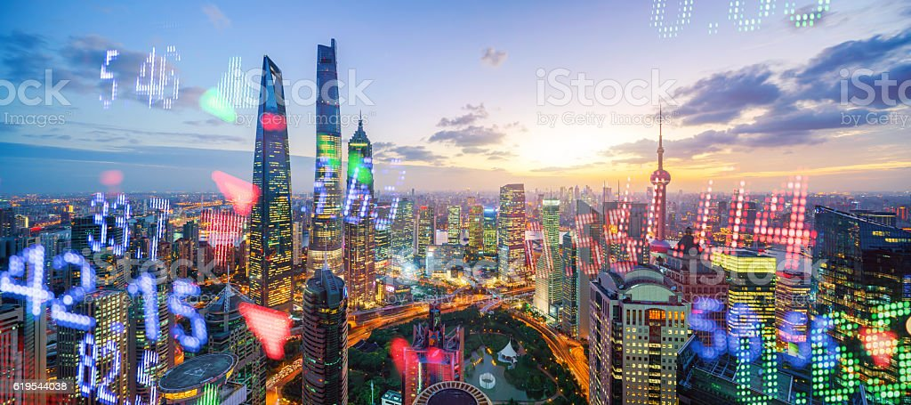 Display stock market numbers and shanghai background stock photo