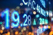 display stock market numbers, double exposure