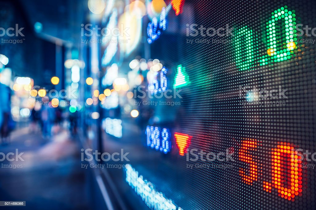 display stock market numbers in a street stock photo