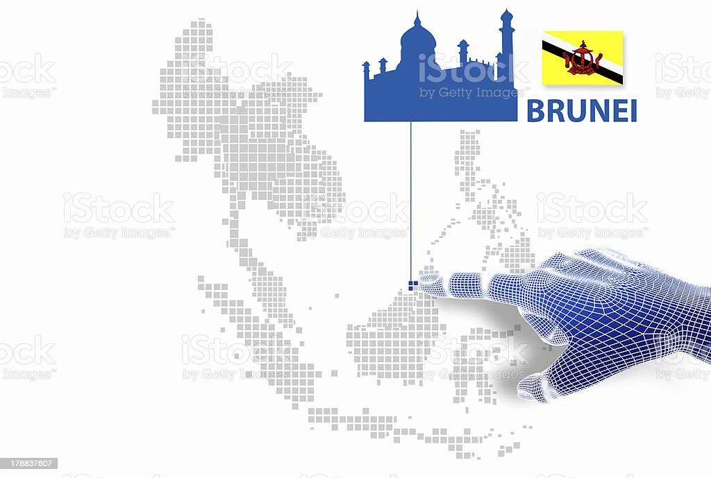 displayBruni map and flag. royalty-free stock photo