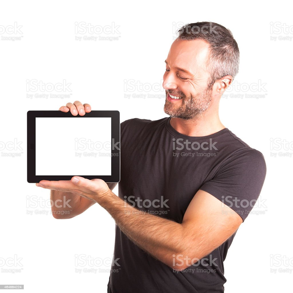 Displaying Digital Tablet stock photo