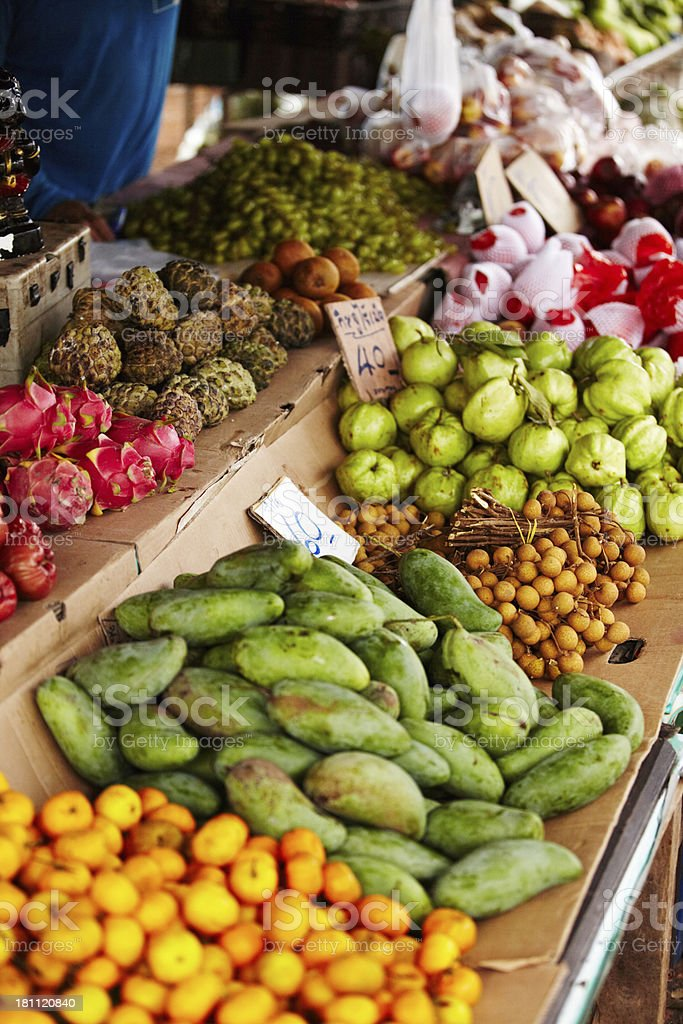 Displaying the exotic fruits of Thailand stock photo