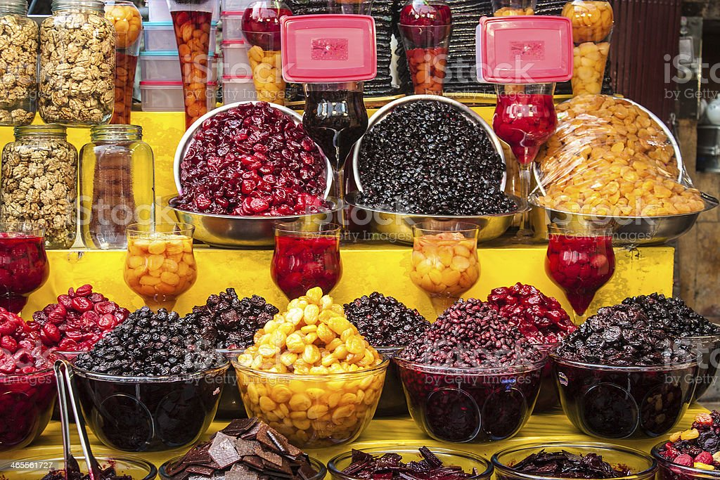 Displays of dried fruit for sale stock photo
