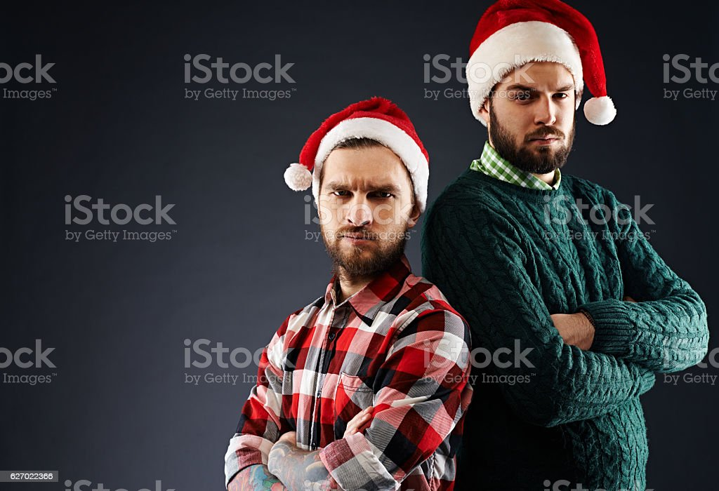 Displeased Christmas gnomes stock photo
