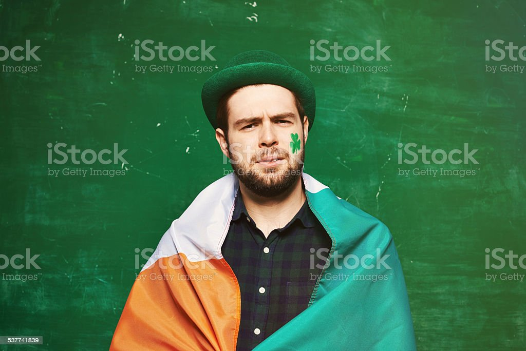 Displeased Irish man stock photo