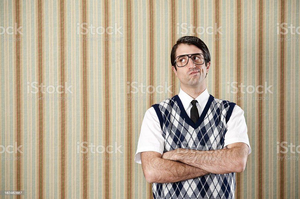 Displeased Nerd In Retro Vest stock photo
