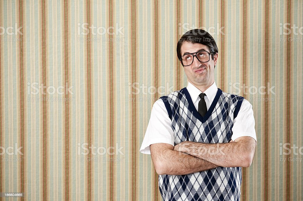 Displeased Nerd In Retro Vest royalty-free stock photo