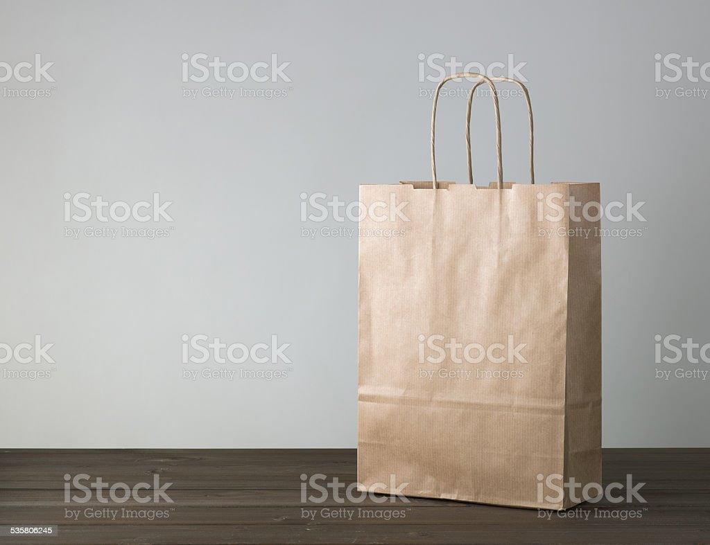 disposable bag of kraft paper stock photo